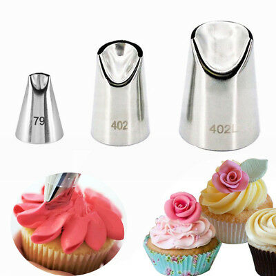3 Pcs Set Rose Petal Icing Piping Nozzles Metal Tips Cream Cake Decorating Tool