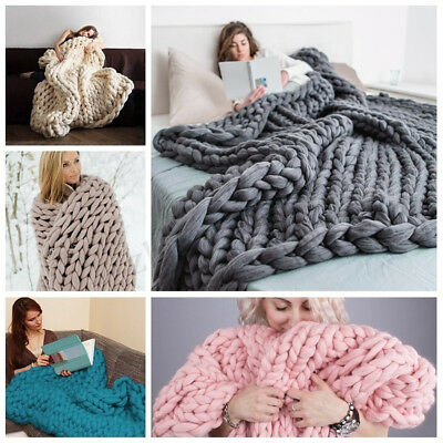 Soft Warm Hand Chunky Knit Blanket Thick Yarn Wool Bulky Bed Spread Throw 3 Size