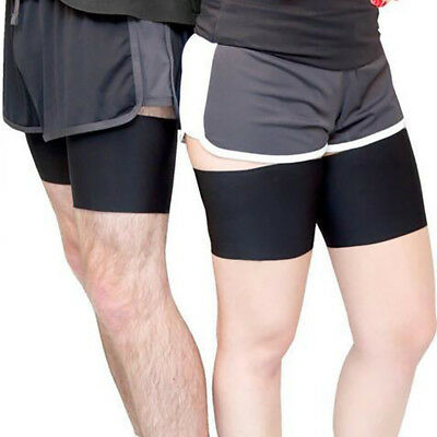 Black Pair Anti Chafing Thigh Bands Non Slip Elastic Leg Comfort Running Sports