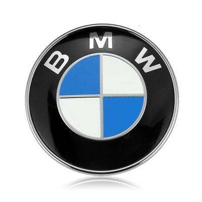 2Pcs Emblem Front Hood Back Trunk Replacement Car Logo Badge 82MM For BMW
