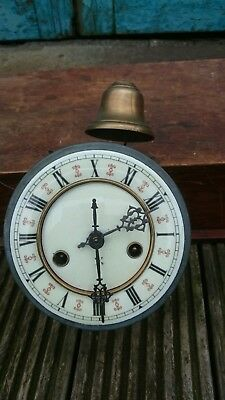 H.A.C. Vienna Style Wall Clock Movement & Brass Bell For Restoration