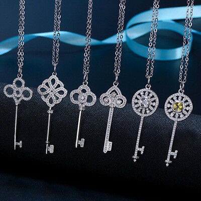 Fashion Womens 925 Silver Jewelry Crystal  Zircon Key Necklace Sweater pendant
