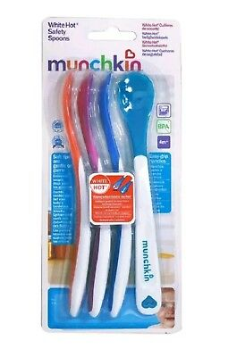 NEW Munchkin White Hot Safety Spoons x 4 for Baby Weaning