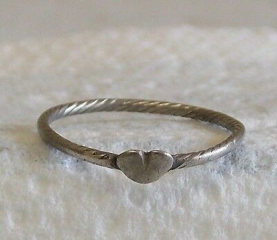 Medieval Silver Celtic Love Heart Claddagh Torc Ring 14th 15th 16th Century