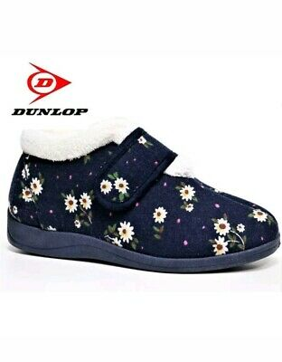 Ladies Luxury Wide Fit Dunlop Floral Ankle Bootie Slippers Women's Slippers