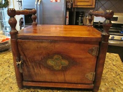 ANTIQUE WOODEN SMOKING CABINET WITH LATCH AND LINING price reduced