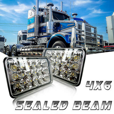 """2* DOT 4"""" x 6"""" LED Headlights CREE Sealed Beam Headlamps HID Xenon Replacement"""