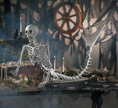 "Life-Size Mermaid Skeleton Halloween Decoration 14 1/2"" x 73"" **FREE SHIPPING!**"