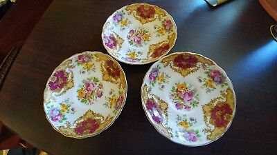 3 Vtg Tuscan Fine English Bone China Porcelain Provence Flowers Saucers