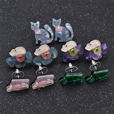 1 Pair Lovely Animal Earrings Acrylic Cat Pendant Party Jewellery Ladies Gifts