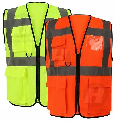 Hi Visibility Executive Vest High Vis Viz Work Reflective Safety Top Waistcoat