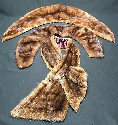 Lot 3 Genuine Fur Collars Stole Wrap W Pass Through Brown Mink? Great Stripes