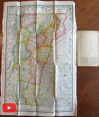 Vermont state pair of 2 folding pocket maps 1890 & 1918 Rand McNally