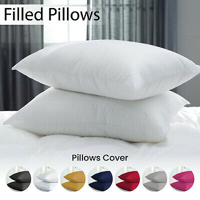 2x Luxury Bounce Back Pillow Pair Hollow Fiber & Housewife Pillow Case Available
