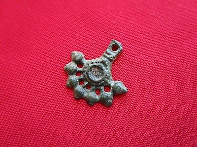 Ancient Celtic pendant / amulet . stylized tree  - bronze - I century BC . 1