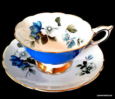 Royal Stafford Blue Teacup and Saucer Wide Mouth Blue White Rose Tea Cup Set