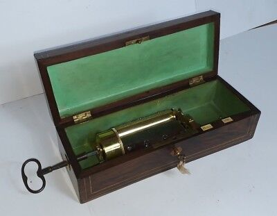 V. Rare Antique Austrian Cylinder Music Box by A. OLBRICH C.1840's (Watch Video)