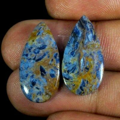14.30 Ct 100% Natural Superb Quality Chatoyant Pietersite Pair Cabochon Gemstone
