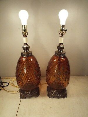 Pair of Large Vintage EK1972 Amber Glass Globe Table Lamps 3way - Both Work