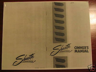 Shasta Vintage Travel Trailer Owners Manual Copy
