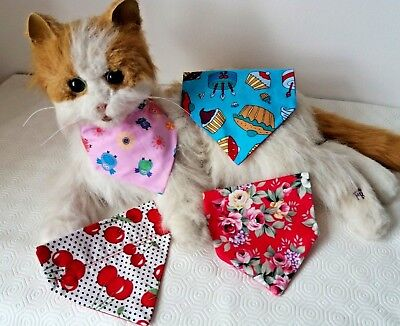 Pretty Pinks Blues Cat or Tiny Dog Collar Bandanna choice of 4 Designs size XS