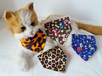 XS Cat or Tiny Dog Collar Bandanna choice of 4 Designs size XS Blue  Brown flame