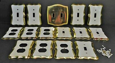 Lot of Vintage Brass and White Painted Outlet Covers