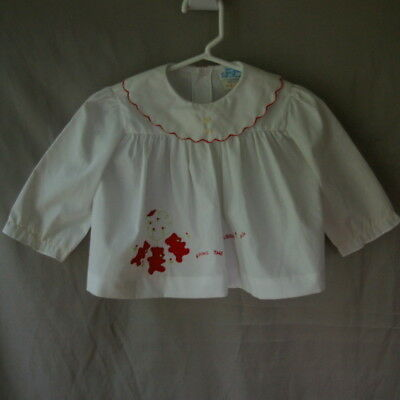 Baby Toddler Dress 12M Vintage Jo Joe White Red Teddy Bear Party