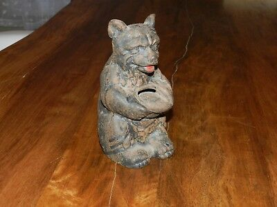 Vintage Antique Cast Iron Bear Piggy Bank Lodge Log Cabin Cottage Decor Statue