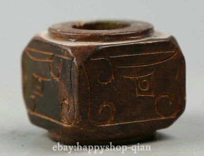 35MM Fine Chinese Liangzhu Culture Jade Hand Carving Ancient Pretty Yu Cong '玉琮'