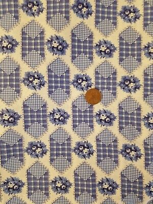 "Vintage Blue & White Concord Fabrics Floral Print Cotton Fabric 2 Yards 43"" Wide"