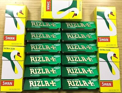 600 Rizla Green Reg Rolling Papers and 600 Swan Extra, Slim Filter Tips - UK P&P
