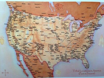 Native American Continental America Map in Large Postcard Size for Framing