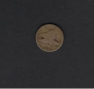 US 1857 Flying Eagle One Cent Coin in G-VG Very Good Condition