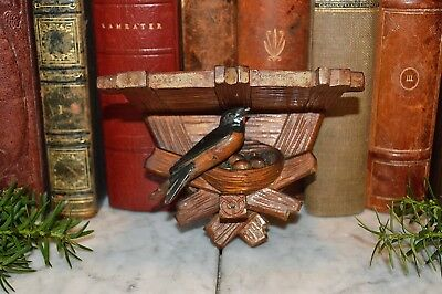 Antique Small German Carved Wood Black Forest Bird Nest Shelf Wall Bracket