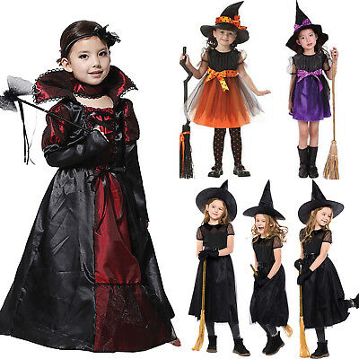 Halloween Kostüm Kinder Mädchen Vampir Hexe Witch Kleid Party Cosplay Karneval