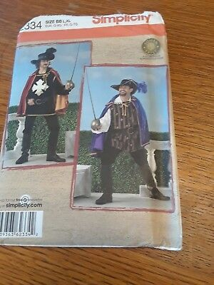 PATTERN Simplicity #2334 Mens Musketeer Cape Costume Pattern Size BB/L- XL UNCUT