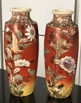 Antique Very Old Japanese Enamel Vases Meiji Period 276 Picclick