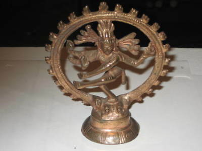 Dancing Lord Shiva Hindu God Nataraja Brass Statue ANTIQUE 4 inch by 3 1/2""