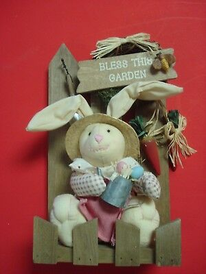 Unique Decorative Easter Bunny in His Garden - NOT A TOY - Decorative Item Only
