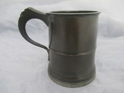 Antique 18Th C Beer Pewter Tankard 1/2 Pint