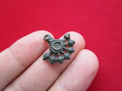 Ancient Celtic pendant / amulet . stylized tree  - bronze - I century BC . 2