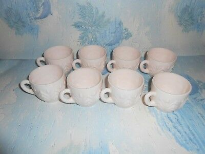 8 Vintage Jeanette Shell Pink Milk Glass Punch Cups Mugs Feather Design