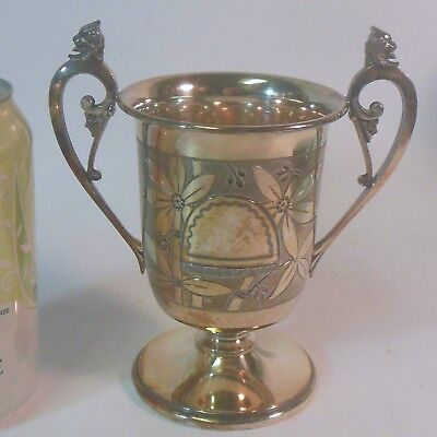 Antique Simpson Hall Miller QUADRUPLE Silver Vase Urn Small Trophy GRIFFIN