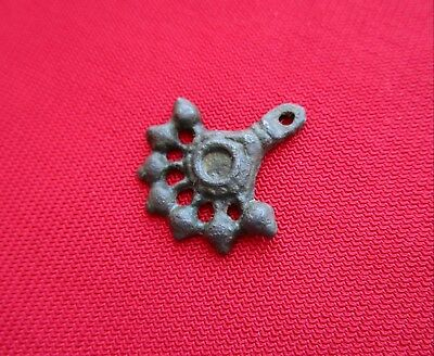 Ancient Celtic pendant / amulet . stylized tree  - bronze - I century BC . 3