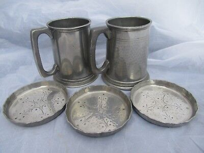MIXED LOT OF 1900s ANTIQUE VINTAGE 20TH C PEWTER TANKARDS COASTERS