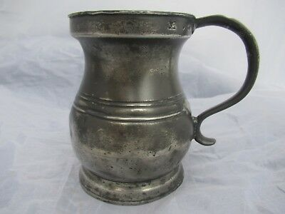 Antique 18Th C Beer Pewter Tankard 1 Pint
