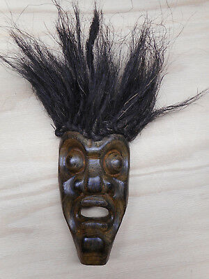 """African Carved Wooden Mask with Hair 11"""""""