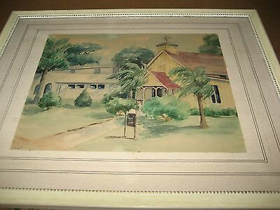 Watercolor Painting signed Rand Tropical Church Scene Framed