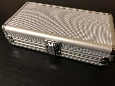 Silver 4 Cigar Caddy Travel Case - Airtight Crash Proof Cigar Humidor
